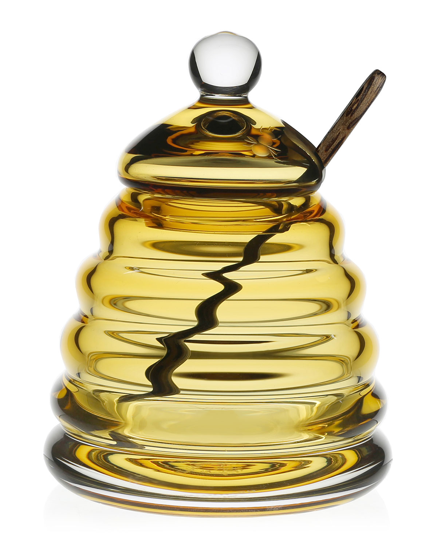 William Yeoward Flatwares HONEYCOMB HONEY JAR & SPOON