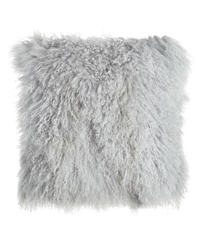 Fog Gray Tibetan Lamb Pillow