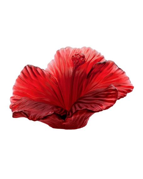 Daum Red Crystal Hibiscus Flower