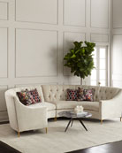 Jasmine Curved Tufted Sectional, Cream