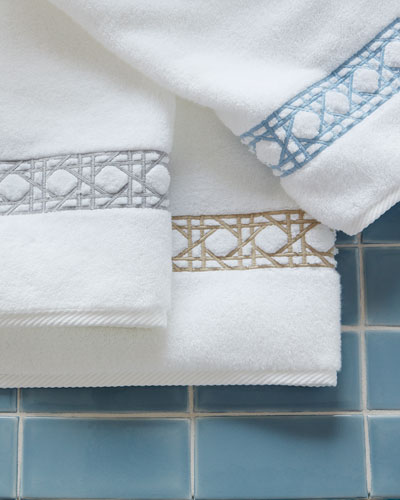 Cane-Embroidered Bath Towel