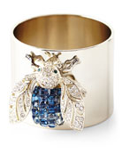 Blue Sparkle Bee Napkin Rings, Set of 2