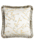 "Blossom Pillow with Fringe, 20""Sq."