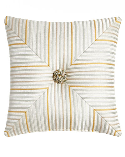 Mitered Stripe Blossom Pillow, 18