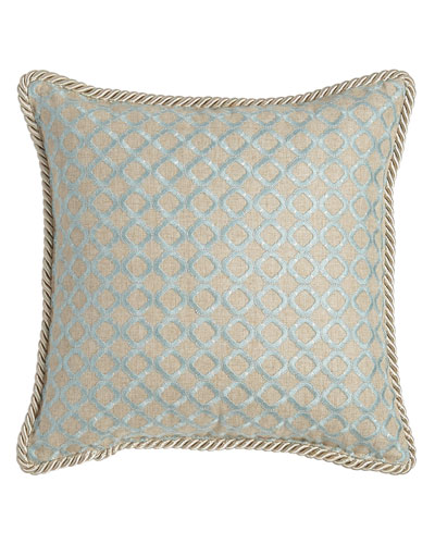 Hydrangea Embroidered Ogee Pillow, 16