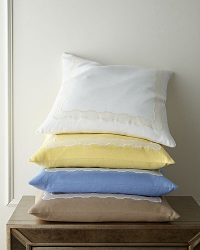 Embroidered Linen Pillow, 22