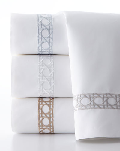 Twin 3-Piece Cane-Embroidered 400 Thread-Count Sheet Set