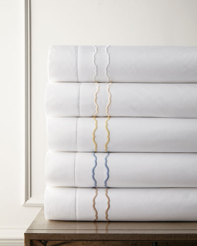 King Embroidered Percale Duvet Cover