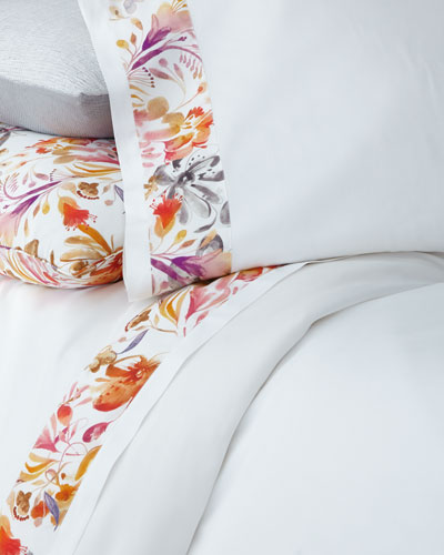 Full/Queen Watercolor Floral Flat Sheet