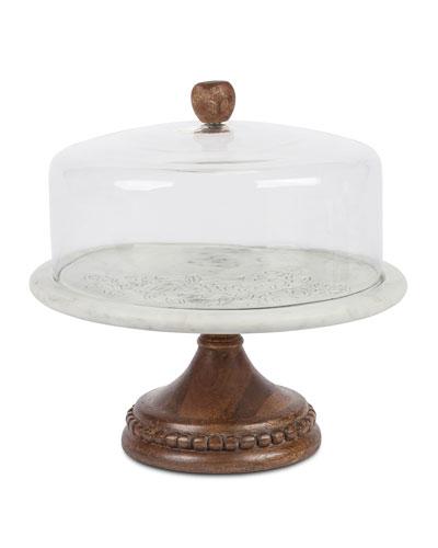 Marble, Wood & Glass Cake Pedestal