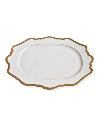 Antiqued White Oval Platter