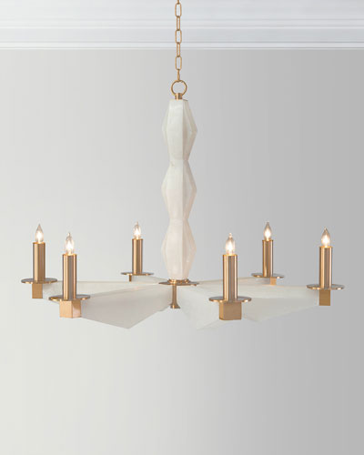 6-Light Sculptural Alabaster Chandelier