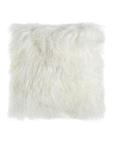 "Massoud White Tibetan Lamb Pillow, 26""Sq."