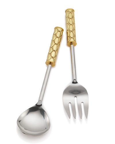 Helios Brass Salad Servers, Boxed Set