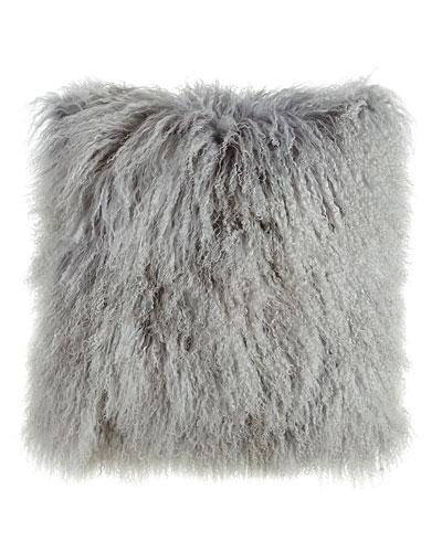 Fog Gray Tibetan Lamb Pillow, 26