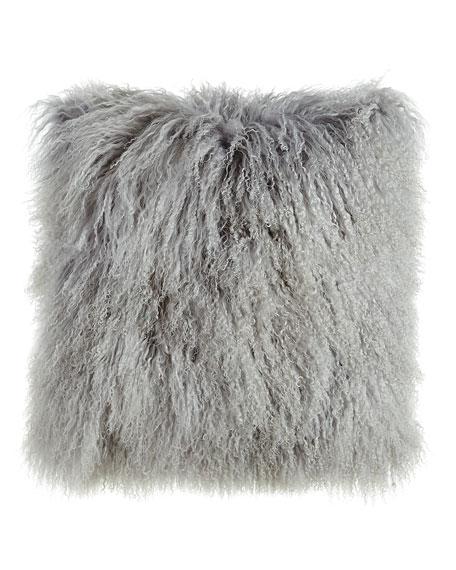 "Massoud Fog Gray Tibetan Lamb Pillow, 26""Sq."