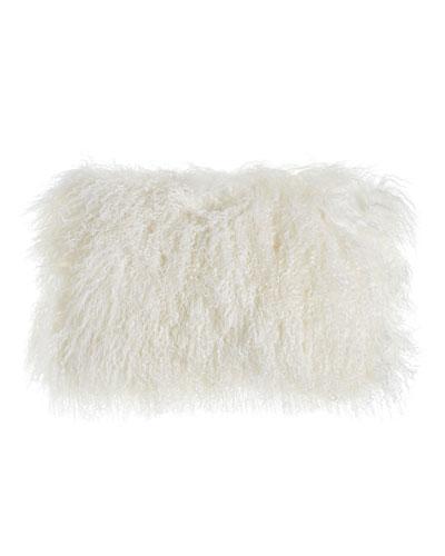White Tibetan Lamb Pillow, 20