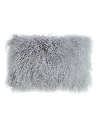 Fog Gray Tibetan Lamb Pillow, 20