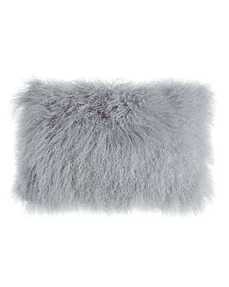"Massoud Fog Gray Tibetan Lamb Pillow, 20"" x 12"""