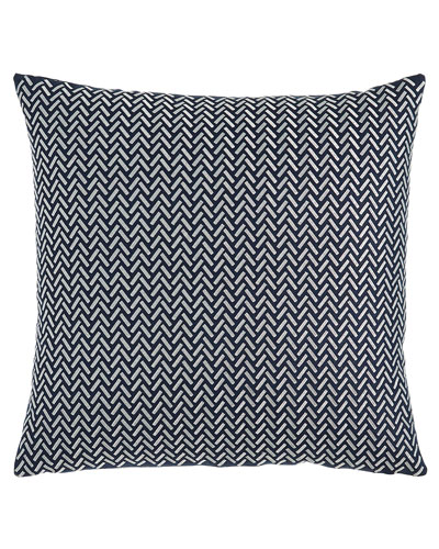Herringbone Decorative Pillow, Blue/White