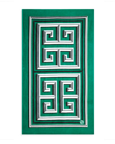 Greek Key Beach Towel, Green