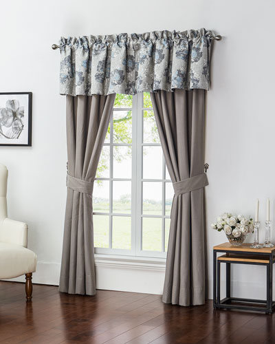 Two Blossom Pewter Taupe Jacquard Curtains, 84