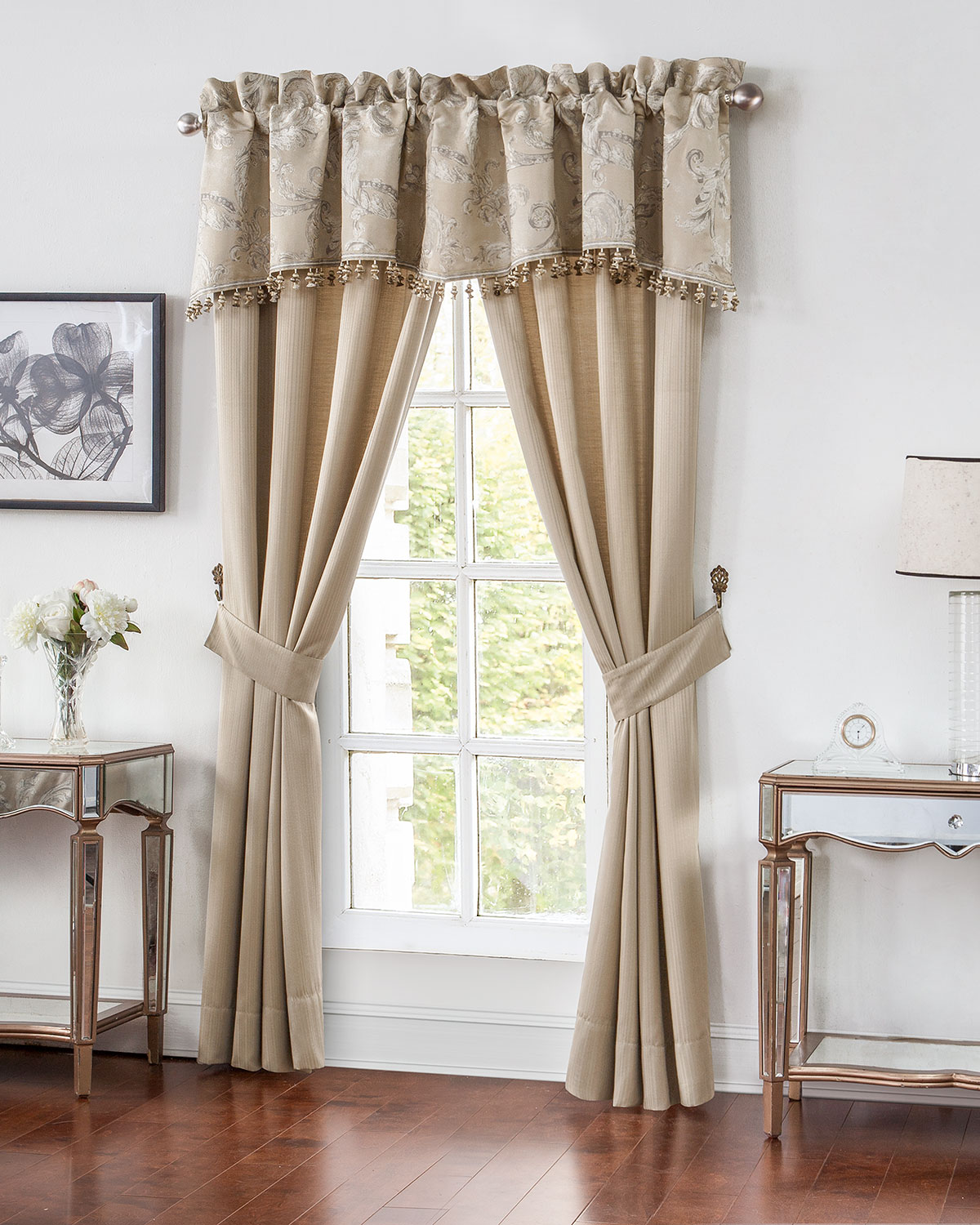 Waterford Two Chantelle Stripe Jacquard Curtains, 84l