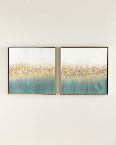 Golden Fog Original Painting, Set of 2