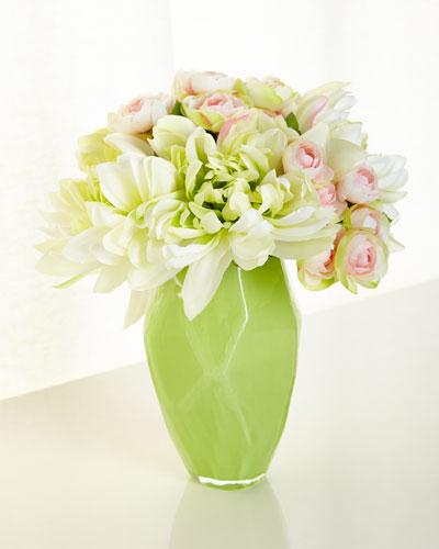 Emeralds Lace Faux Flower Arrangement