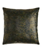 "Gilded Gator Emerald Pillow, 22""Sq."