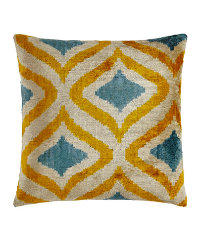 Yellow/Blue Silk Velvet Pillow, 20