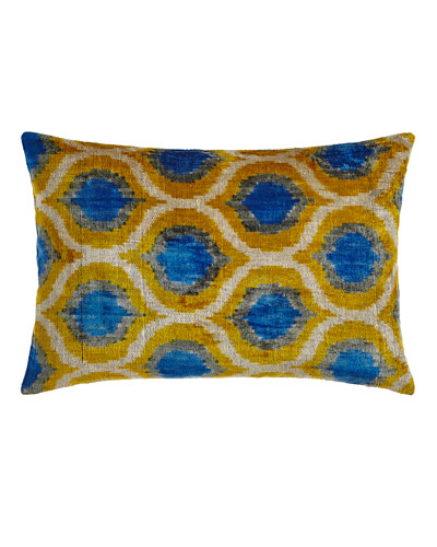 Blue/Yellow Silk Velvet Pillow, 24