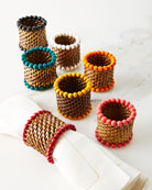 Four Bead-Rimmed Napkin Rings