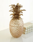 Palm Leaf Gilded Glass Jar