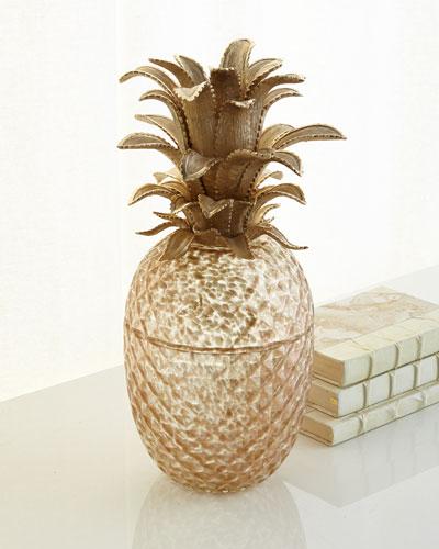 Palm Leaf Gilded Glass Pineapple Jar