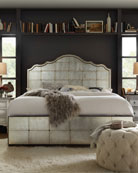 Visage Eglomise Mirrored Panel Bed, Queen