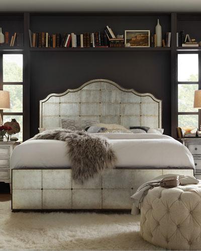 Visage Eglomise Mirrored Panel Bed, King