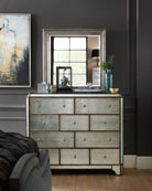Visage Eglomise Mirrored 10-Drawer Chest