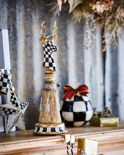 MacKenzie - Childs Precious Metals Deer Tassel Christmas Stocking Hook