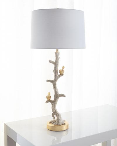Gold bird capiz dust buffet lamp