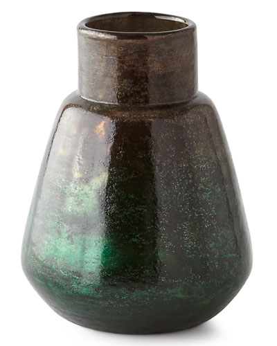Foiling Small Glass Vase, Green