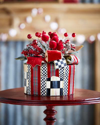 Tartan Frost Hat Box Holiday Decor