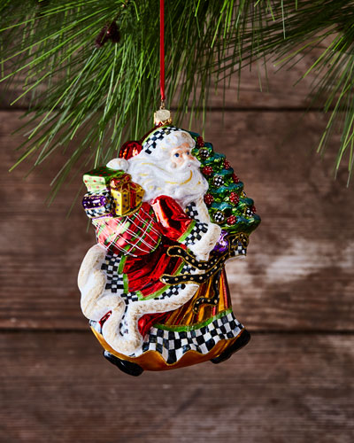 Dashing Santa Glass Ornament