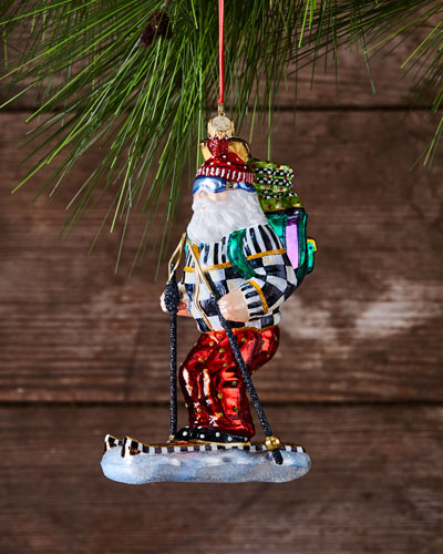 Downhill Santa Glass Ornament