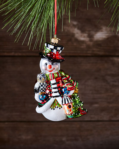 Woodland Snowman Glass Ornament