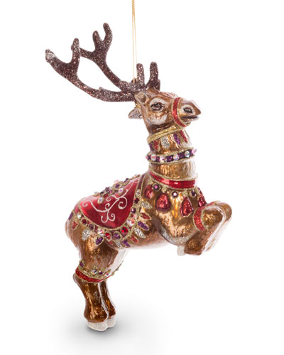 Dancer Reindeer Glass Ornament