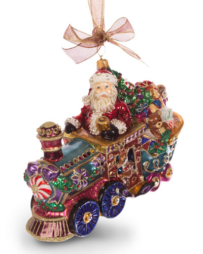 Santa on Train Ornament