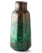 Foiling Large Glass Vase, Green