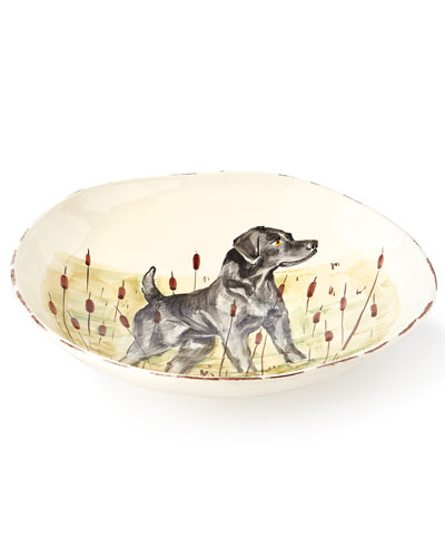 Wildlife Black Hunting Dog Large Serving Bowl