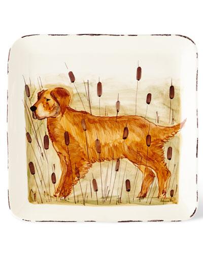 Wildlife Hunting Dog Large Square Platter